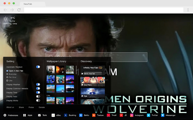 Wolverine New Tabs HD Movies Top Themes