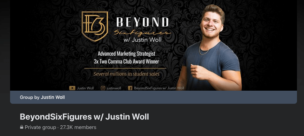 Facebook group for beyondsixfigures with justin woll