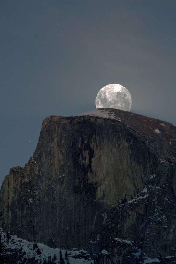 Full Moon over Half Dome by Bud Walley - Landscapes Starscapes