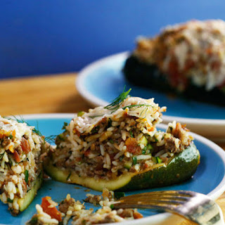 Meat and Herb Stuffed Zucchini