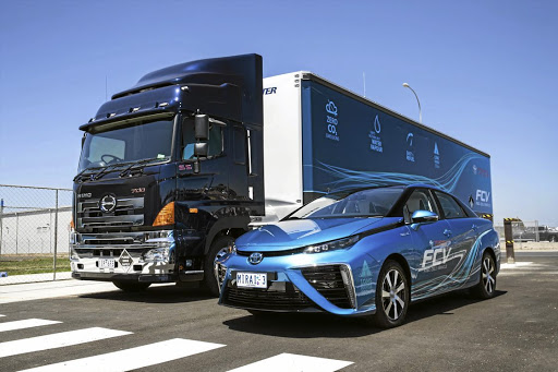 The trailer is tailor-made to carry up to 10 tonnes of hydrogen and nitrogen gas bottles for refuelling fuel-cell vehicle.   Picture: TOYOTA