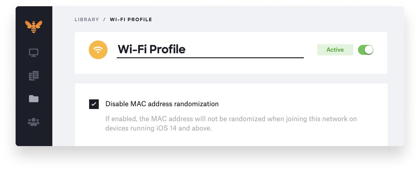 disable MAC randomization MDM profile