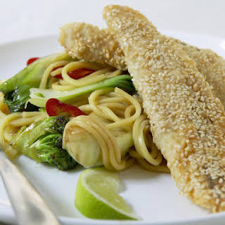 Sesame Crusted Fish with Asian Noodles.