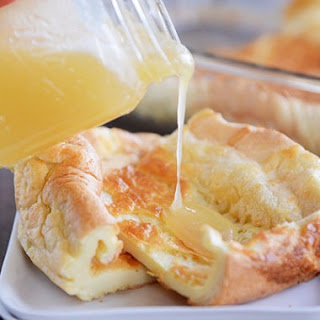 Baked German Pancake with Butter Syrup.