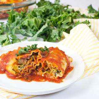 Lasagna Rolls with Chicken Cordon Bleu and Kale Filling.