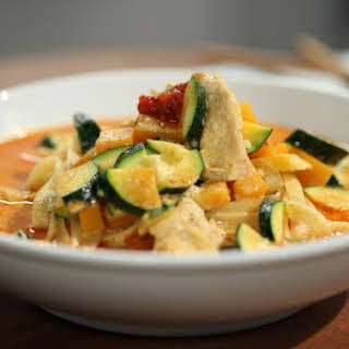 Chicken and Fettuccine in Galangal Coconut Sauce (Malaysian Laksa).