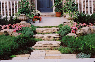 Photo: This 'waterfall rock' makes for great steps and we've softened it by planting Sedums and thyme in the gaps.