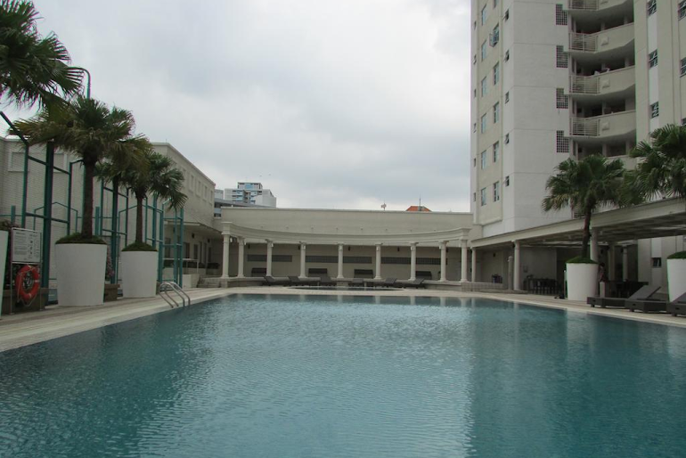 Pool side at West Coast Road Apartments, Clementi