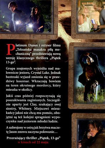 Tył ulotki filmu 'Piątek 13-go'