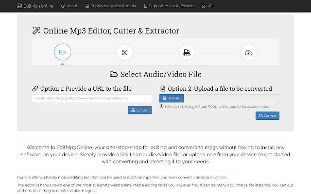 EditMp3 Online: Mp3 editor and extractor
