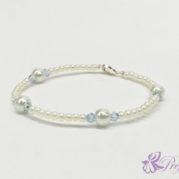 [PLC019] 簡約風珍珠水晶手鐲 (清澈水藍)