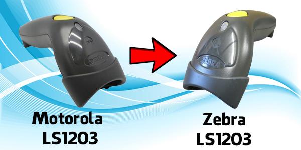 Sự thay đổi của Motorola LS1203 sang Zebra LS1203 là do việc hãng Zebra mua lại Motorola Solutions