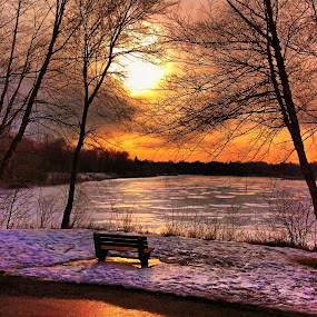 by Lori Taylor - Instagram & Mobile Other ( reflection, sky, winter, bench, park, sunset, ipad, snow, night, lake, light )