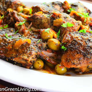 Slow cooked Duck with Green Olives and Herbes de Provence.