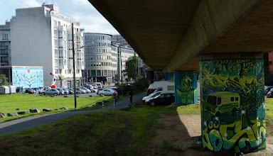Photo: CityLeaks 2015; MITTWOCHSMALER & FRIENDS; Brückenpfeiler Neusserstr. / Mehrheimer Str.