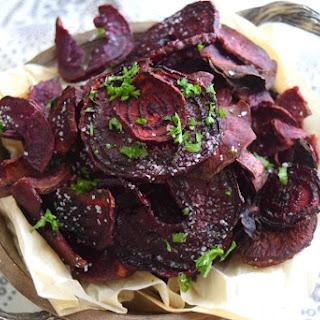 Baked Balsamic Beet Purple Sweet Potato Chips.