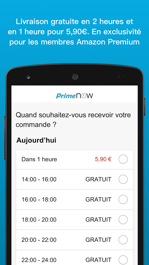 Amazon Prime Now – Capture d'écran