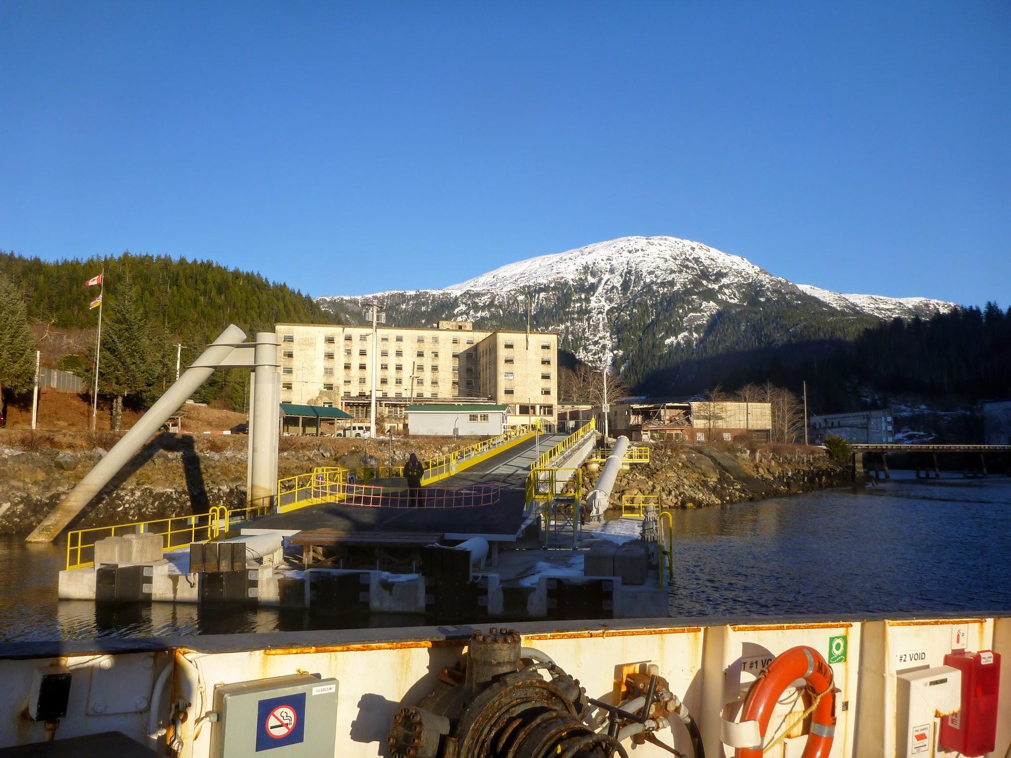 Arriving at Ocean Fall's fancy new dock.