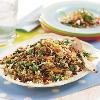 Warm Quinoa Spinach and Shiitake Salad