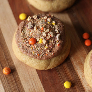 Reese's Pieces Cookie Cakes with Nutella Buttercream