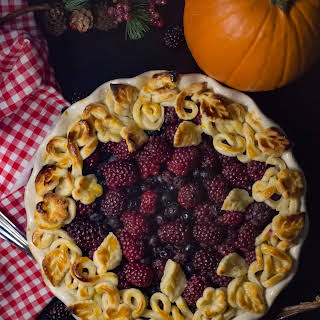 Thanksgiving Blackberry and Blueberry Forest Pie.