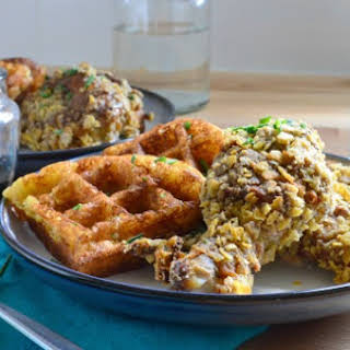 Potato & Chive Buttermilk Waffles with Spicy Sage Oven Fried Chicken.