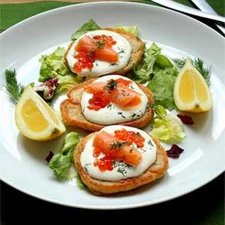 Pancakes with Salmon and Caviar