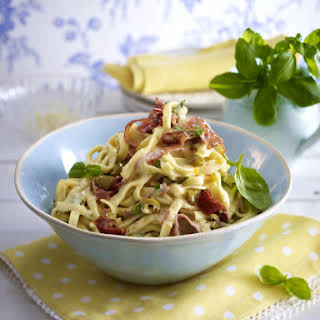 Fettuccine with Olives and Mortadella in Cream Sauce.