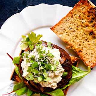 Juicy Portobello Burgers with Vegan Blue Cheese & Caramelized Onions.