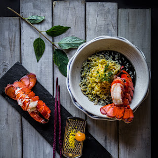 Ramen with Broiled Lobster Tail in Squid Ink Broth Recipe
