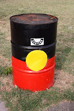 Photo: Year 2 Day 227 - Oil Drum Painted in the Aborigine Flag
