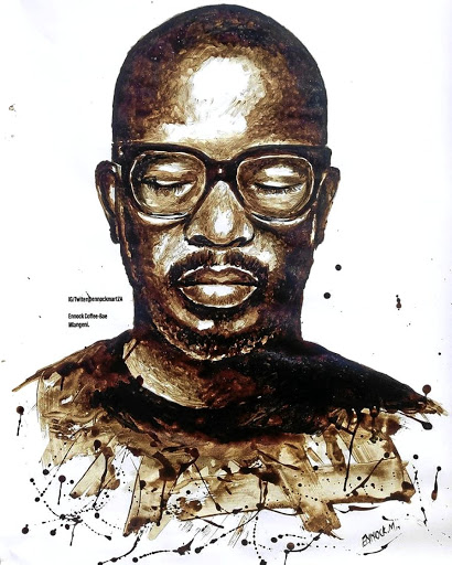 Resourceful: Ennock Mlangeni used instant-coffee granules to complete a painting of DJ Black Coffee. Picture: FACEBOOK