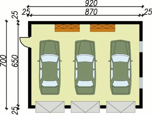 G5 szkielet drewnniany, garaż trzystanowiskowy - Rzut garażu