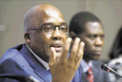 Government is holding cluster media briefings on the implementation of the Programme of Action for 2010. Imbizo Media Centre - Cape Town, South Africa. 11/3/2010. Photo: Minister of Health Dr Aaron Motsoaledi and Deputy Minister of Arts and Culture, Mr Paul Mashatile .Pic: Ntswe Mokoena. 11/03/2010. © Sowetan
