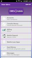 Screenshot of CMCU Mobile Banking