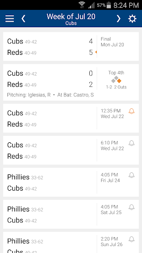 Baseball Schedule for Cubs