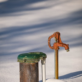 Water Pump by Chad Roberts - Artistic Objects Still Life ( red, spicket, green, well, winter, water )