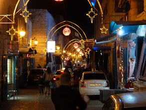 Photo: Downtown Bethlehem a few days after Christmas. Yes, we actually did take a car through this winding single lane street.