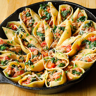 Sausage, Spinach, Tomato and Ricotta Stuffed Shells.