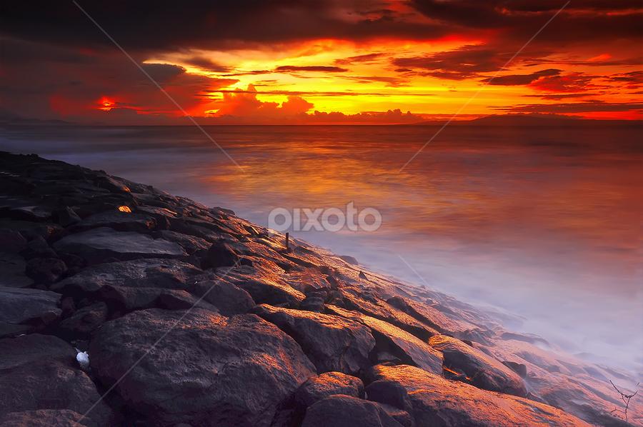 Burn Light in the Morning by Aditya Art-ditz - Landscapes Sunsets & Sunrises ( manyar, wave, stone, sunrice )