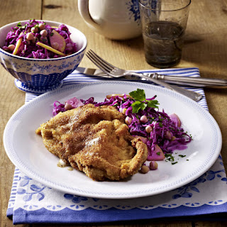 Veal Cutlets with Red Cabbage and Chickpea Salad