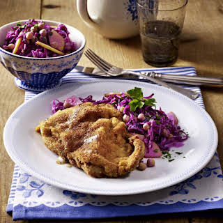 Veal Cutlets with Red Cabbage and Chickpea Salad.