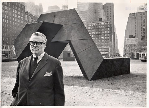 "Sculptor Tony Smith standing in front of ""The Snake Is Out"" in Bryant Park, New York in 1967. Photo: NY Times."