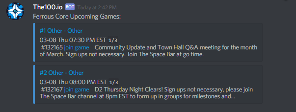 An example of The100 bot posting upcoming games in Discord via the !games command