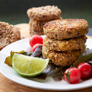 Mini Coriander and Lime Burgers with a Hazelnut Crust.