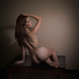 nude and table by Jim Oakes - Nudes & Boudoir Artistic Nude ( red, pretty, model, headed, female )