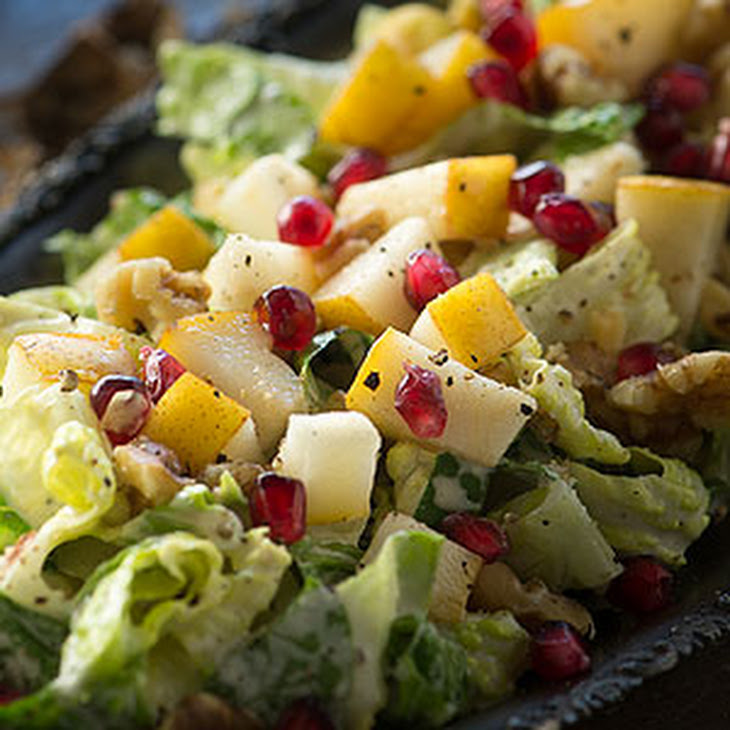 Pear, Walnut Pomegranate Salad with Maple Dijon Dressing Recept ...
