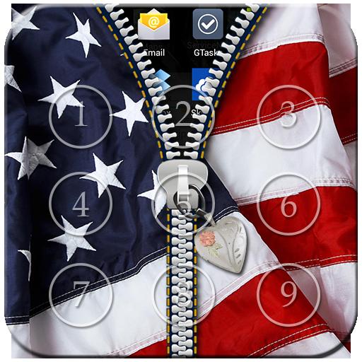 USA Flag Passcode Zipper Lock