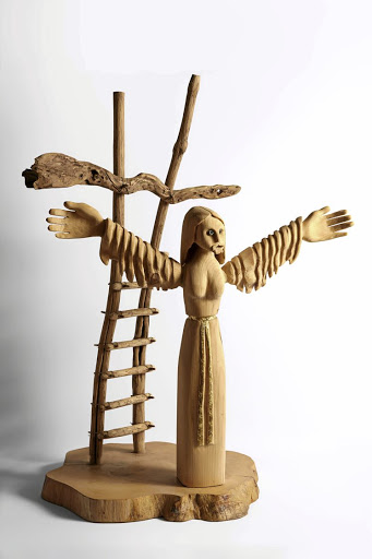 Saint Wilgefortis: Joubert's sculptures are assembled from found wood — and sometimes found wheels. This one depicts the strong virgin, the abandoned, bearded 14th-century saint. Picture: SUPPLIED