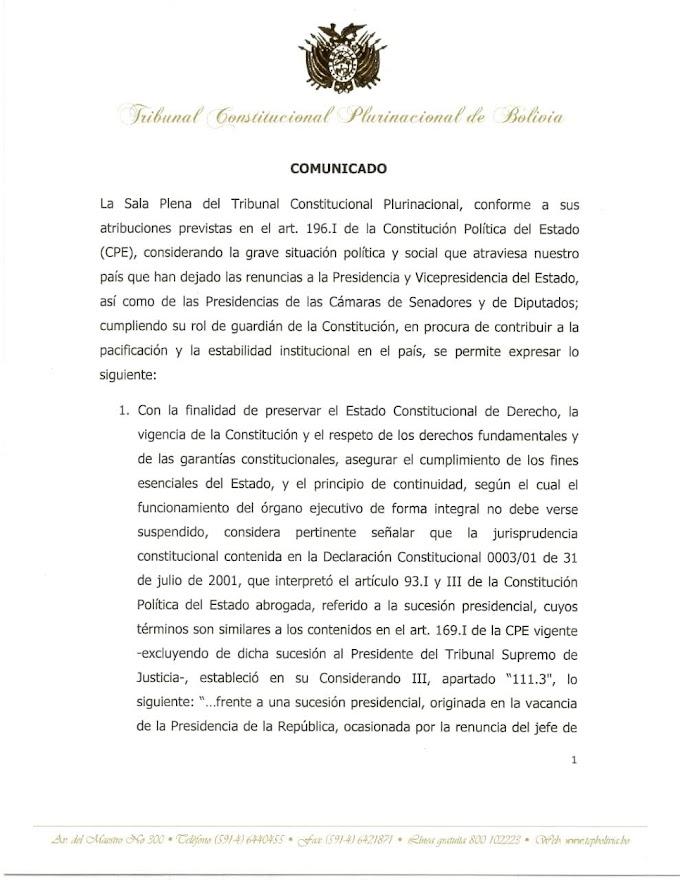 El TCP avala la asunción presidencial de Jeanine Áñez